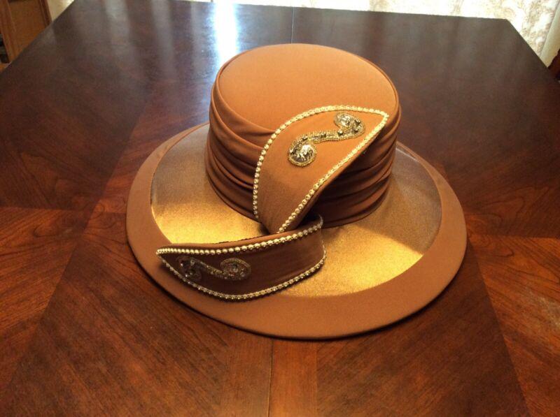 Donna Vinci Couture Exclusive Satin Rhinestone Hat Light Mocha Ornate