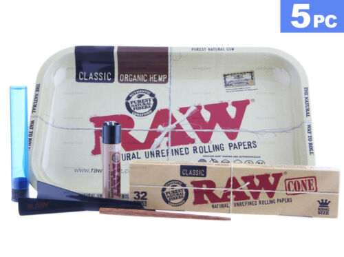 AUTHENTIC RAW CLASSIC CONE Bundle w/ Rolling Tray, Cone Loader, Lighter & Tube