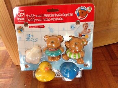 Hape Little Splashers Teddy And Friends Bath Squirts 5 Piece Set Age 0m