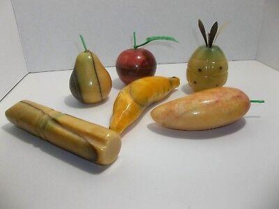 Vintage Alabaster Fruit PINEAPPLE Banana PEAR Apple MANGO Sugar Cane  Mango Sugar Cane