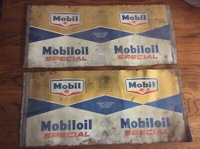 Vintage Mobil Oil Special Can Tin Metal Set Of 2