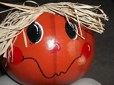 Large Halloween jack o lantern Dried Gourd Carved & Painted Candy Bowl Planter