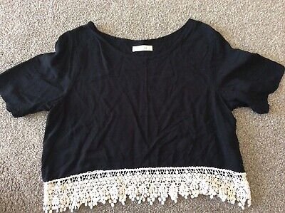 ladies abercrombie and fitch t shirt Black With White Lace Trim