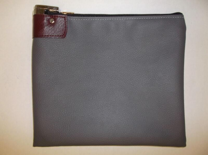 1 Gray Vinyl Locking Bank Deposit Bag with Deluxe Pop Up Lock and 2 Keys
