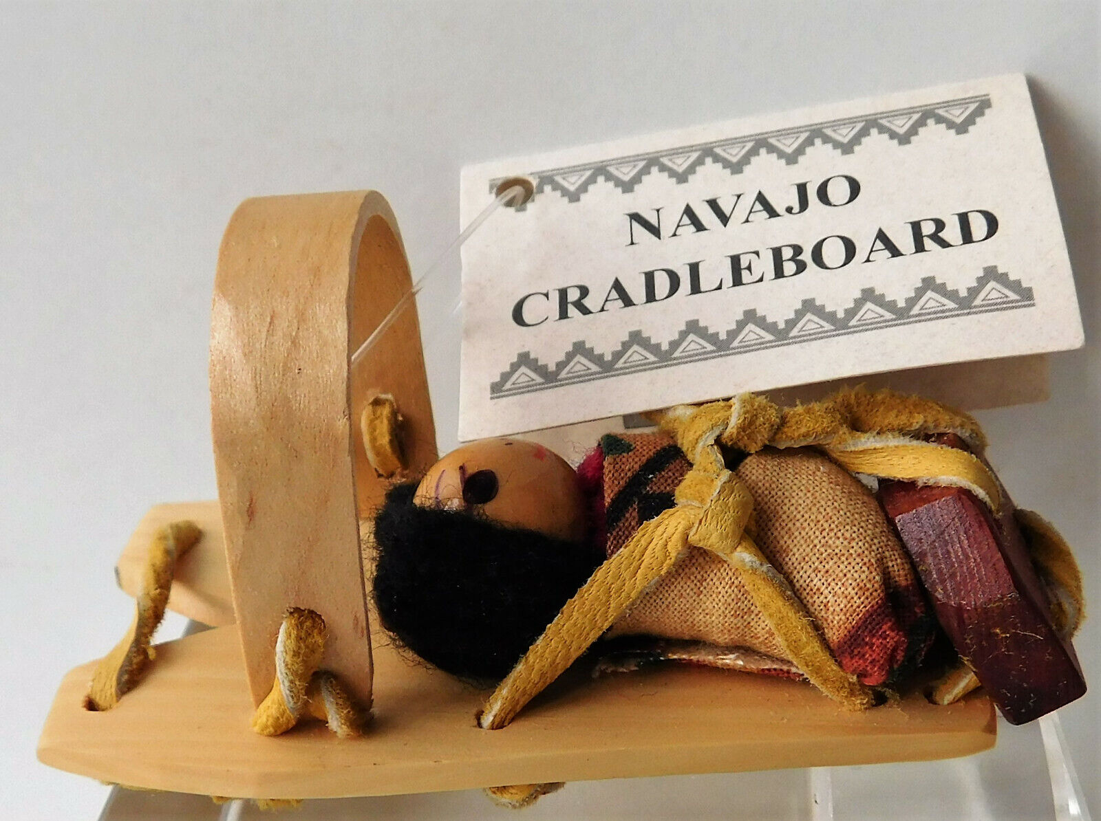 Miniature Navajo doll baby on mini cradle-board Lisa Curtis Native American art