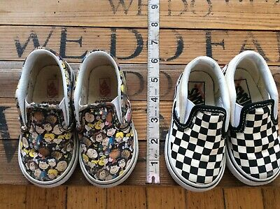 Vans Sneakers Lot Of 2 Pairs Of Sneakers Peanuts The Gang And Checkered 5 & 5.5