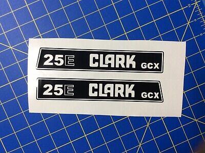 2 Clark 25e Gcx Forklift Decals Sticker Kit 29 X 5 Black And 2 White Clark