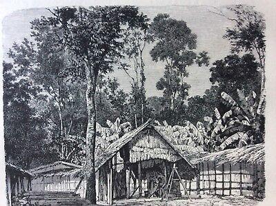 J1g Ephemera 1874 Victorian Book Plate Gaboon Village In The Woods