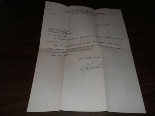 MAY 1948  SOUTHERN PACIFIC RETIREMENT LETTER WITH ENVELOPE