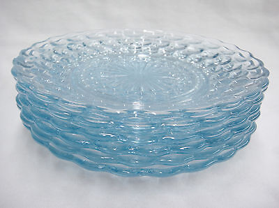 Anchor Hocking Blue Bubble Lot of 6 Bread Plates Vintage 1940s Glass 6-3/4""