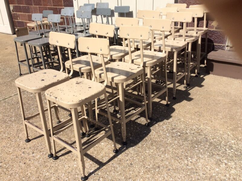"12 Vintage Industrial LYON Tan Metal 24"" Stools W/ Backs - Very Good"