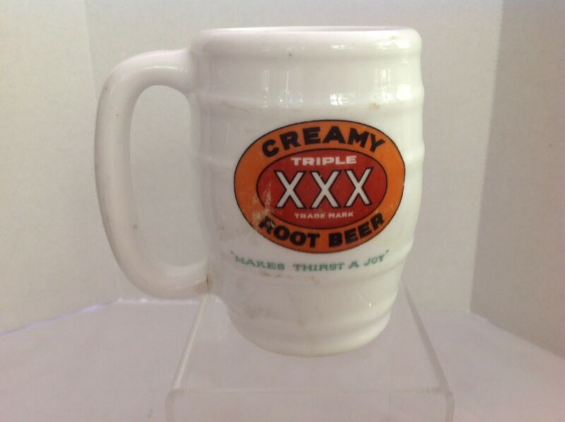 Triple XXX Creamy Root Beer Milk Glass Vintage Mug