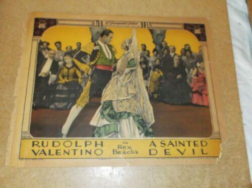 """SAINTED DEVIL(1924)RUDOLPH VALENTINO ORIGINAL 11""""BY14"""" LOBBY CARD NICE!"""