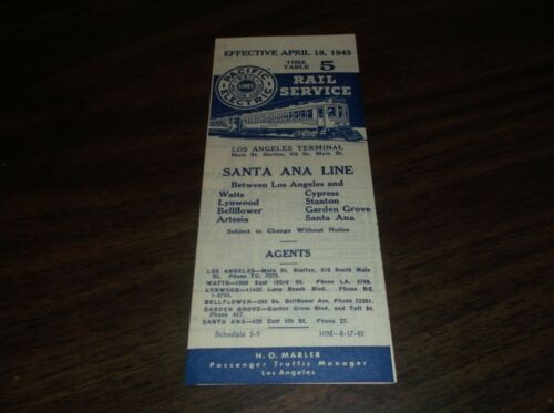 APRIL 1943 PACIFIC ELECTRIC SANTA ANA LINE PUBLIC TIMETABLE