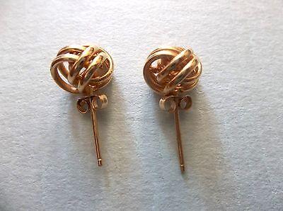 14K Gold Love Knot Amazing Studs Earrings Signed Jcm