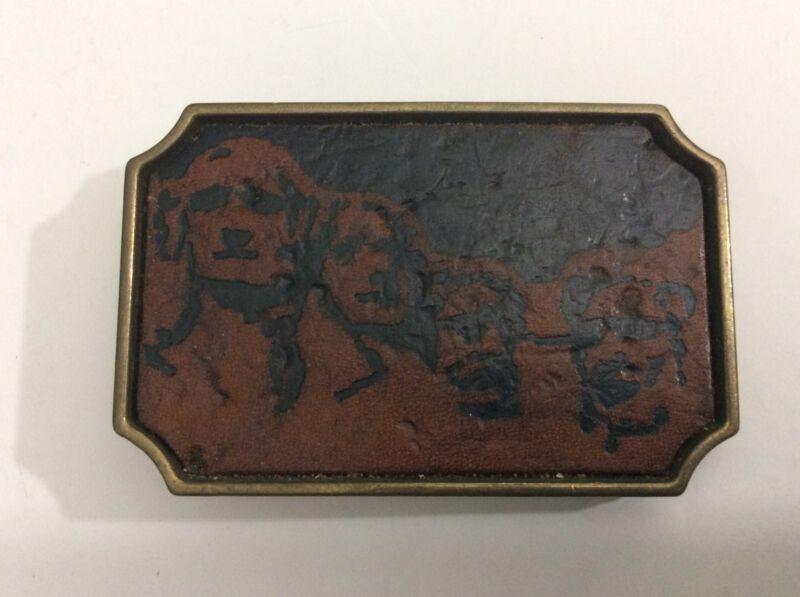 South Dakota Belt Buckle Mount Rushmore Leather Vintage BTS