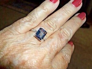 Ring--Genuine Tanzanite Quartz 4 carats w/ tiny diamonds sterling, size 7