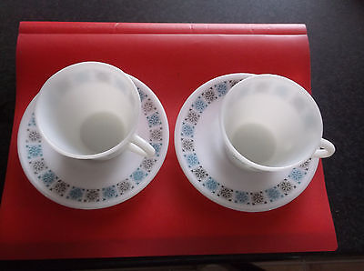 CHELSEA PYREX   TWO  CUPS/SAUCERS