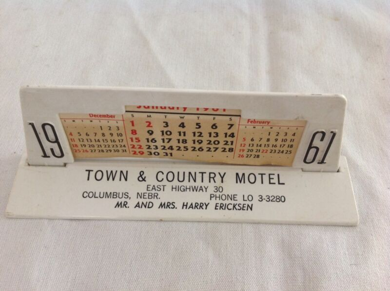 1961 Calendar Town And Country Motel, Columbus, Nebraska