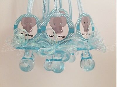 12 Elephant Pacifier Necklaces Baby Shower Favors Blue It's a Boy Games Prizes](Blue Baby Shower Favors)