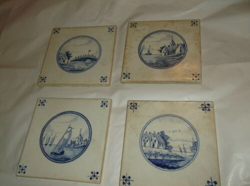 Antique Delft Blue & White Tiles (4) harbor scenes, houses/bridge/sailboat etc