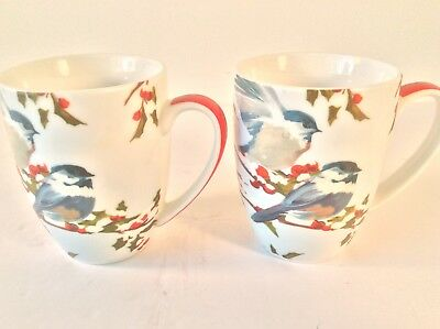 PAPER PRODUCTS DESIGN SET 2 COFFEE TEA MUGS CUPS BLUE BIRDS RED BERRIES WINTER
