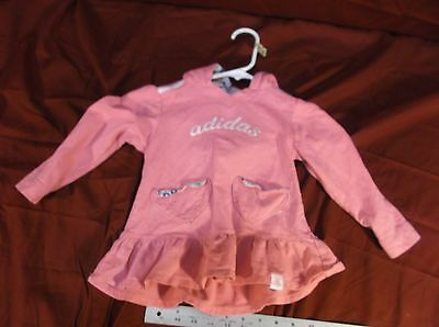 ADIDAS 3T PINK SWEATSHIRT HOODIE DRESS SPORTY ATHLETIC VERY WARM SHIRT CUTE