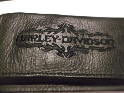 Harley-Davidson Vintage Black Leather Embroidered Check book wallet 99391-95v
