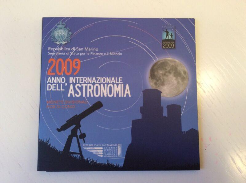 2009 San Marino Euro Set 1cent-2 Euro+silver 5€ Astronomy