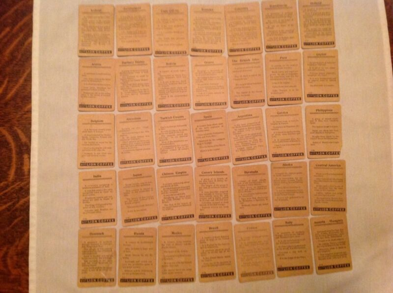 35 Different Lion Coffee Vintage Collect Countrys Of The World Cards, Circa 1900