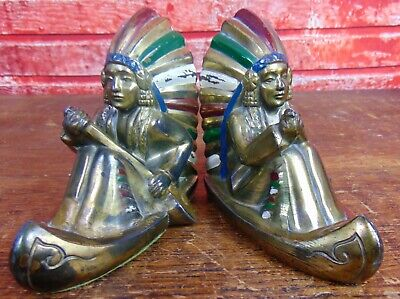 ANTIQUE VIntage Indian Native American Chief in Canoe Bronzed/painted Bookends