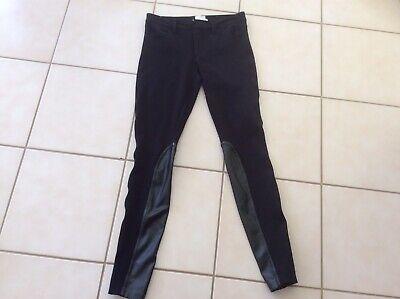 J. Crew Womens 0 Gigi Jodhpur Pants Black Faux Leather Trim Skinny Leg