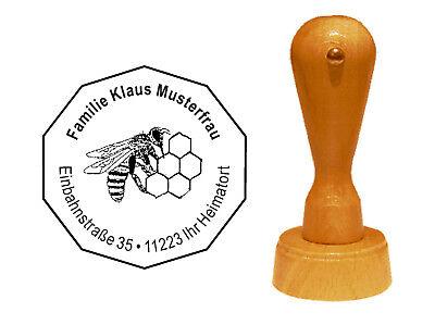 Stempel « Imker » Adressenstempel Motivstempel Holzstempel Honig Wabe