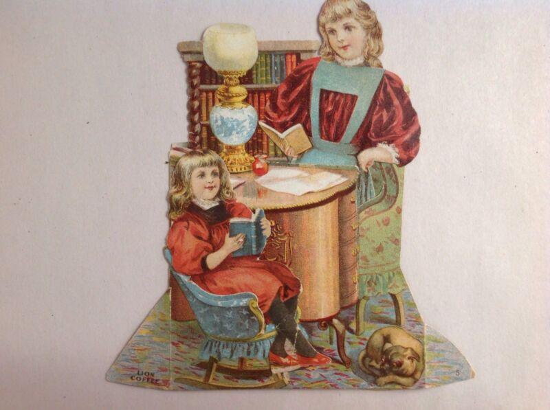 Lion Coffee Stand Up 2 Piece Trade Card , Circa 1890