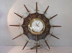 United Electric Wall Clock Mid Century Modern Star Burst Zodiac Clock