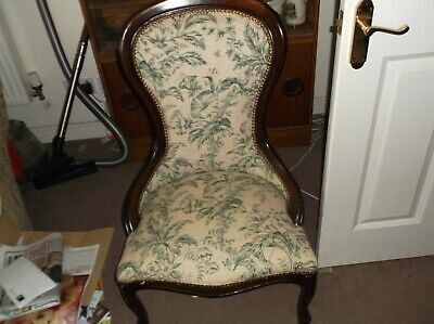 ANTIQUE VICTORIAN MAHOGANY SPOON BACK NURSING CHAIR - COLLECTION ONLY
