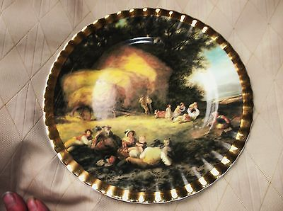 VINTAGE GILDED DISPLAY PLATE FAMOUS PAINTINGS HARVEST TIME WILLIAM SHAYER 8.25