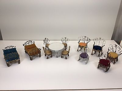 Lot of 12 Vintage tin can dollhouse furniture 2 Beds/Table & 4 Chairs/5 Chairs