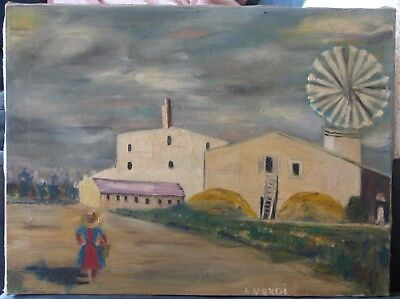 French Oil-Modernist-1950's-Signed-Woman By Farm-High Quality