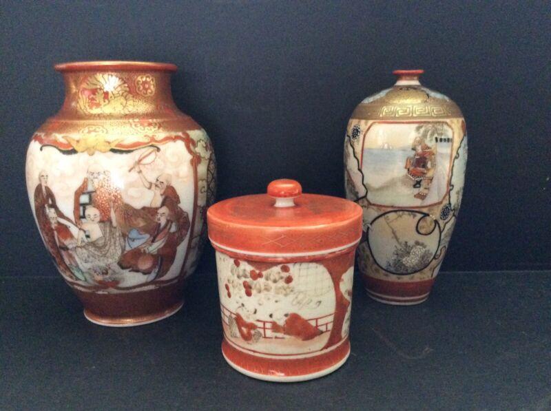 Three (3) Pieces Old Kutani Ceramics