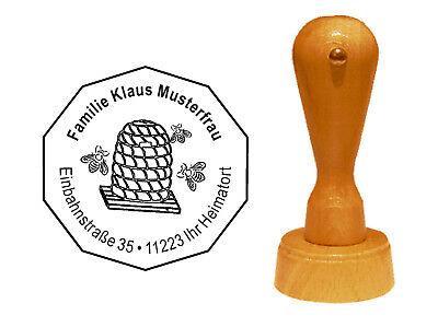 Stempel « Imker » Adressenstempel Motivstempel Holzstempel Honig Bienenkorb