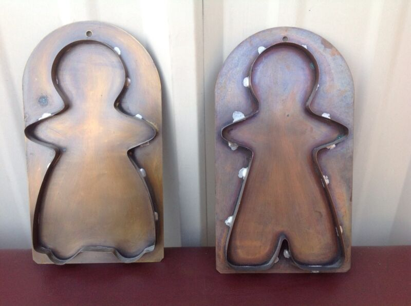 """(2) Large Copper Handmade Cookie Cutters Boy & Girl 10"""""""