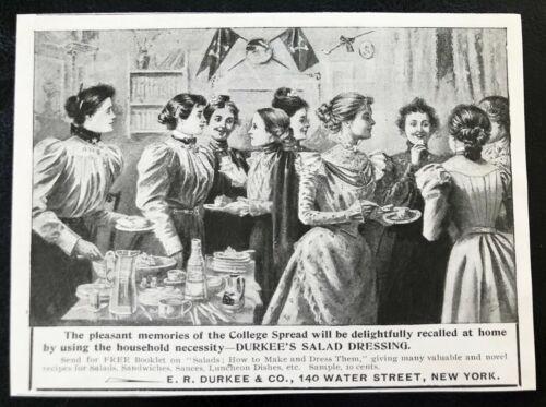 1898 DURKEE Salad Dressing Vtg Victorian Art Print Ad~Girls College Dorm Party!