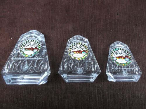 set of 3 clear acrylic trophy cub scout derby red car pinewood
