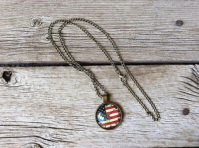 Vintage Clock US Flag Glass Cabochon Bronze Chain Necklace, 21