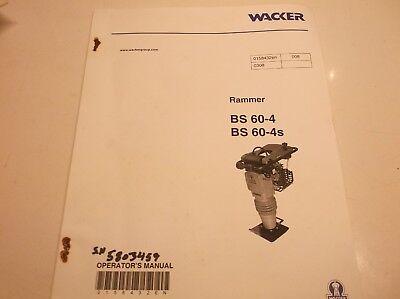 Bs 60-4 Bs 60-4s Wacker Vibratory Rammers Parts Book  Jj1