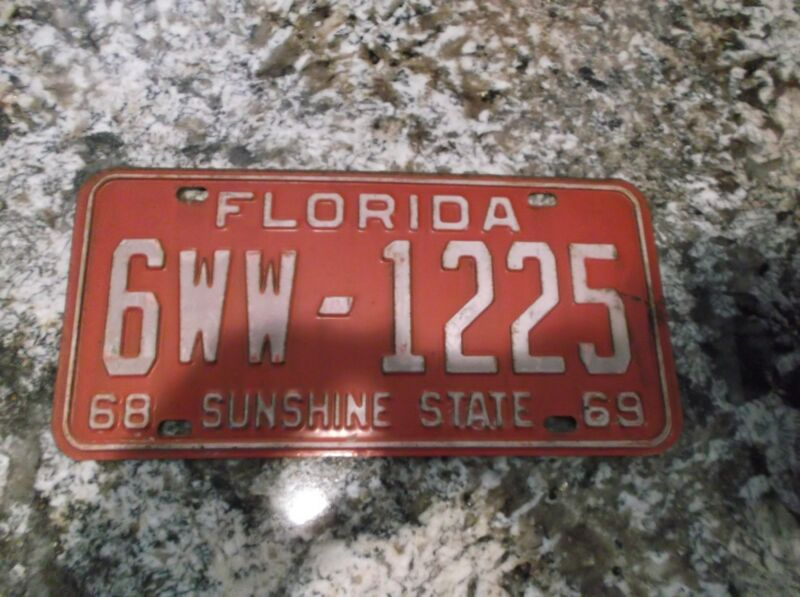 1968 - 1969 FLORIDA LICENSE PLATE 6WW 1225