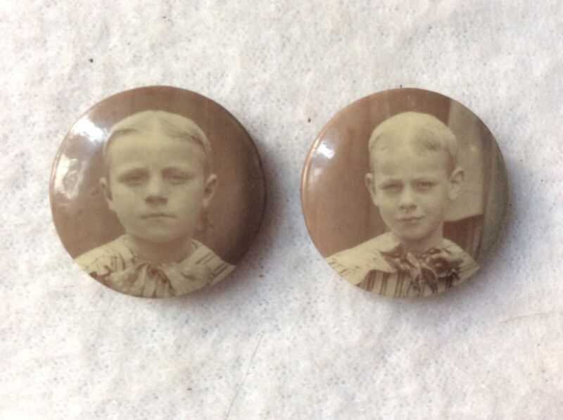 EUC Antique Lord Flauntleroy Photo Brooch Pin Boy Brothers Miniature Early 1900s