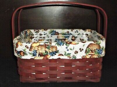 2006 Longaberger Red Lunchbox Basket with Apple Liner & Plastic Protector - EUC!
