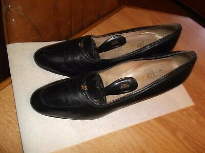 AUTHENTIC VINTAGE GUCCI Black Leather Logo Pump Shoes size 41 US 10 - 10.5 Italy